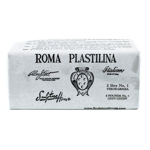 Roma 1 - Sculpture House Roma Plastalina Modeling Clay - 40 lb Case - Grey Green - Soft -0