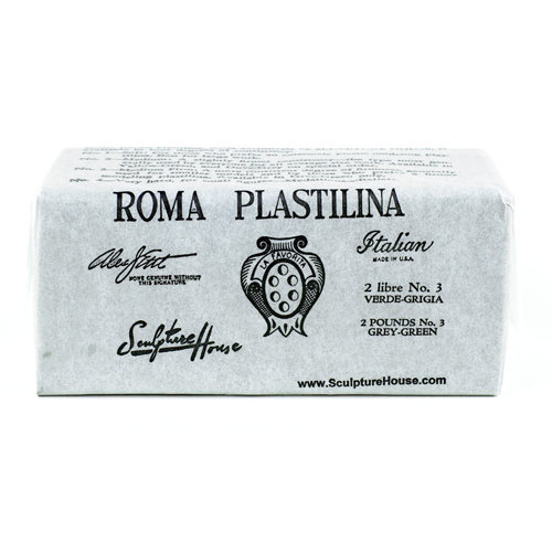 Roma 3 - Sculpture House Roma Plastalina Modeling Clay - 40 lb case - Grey Green - Medium - Firm-0