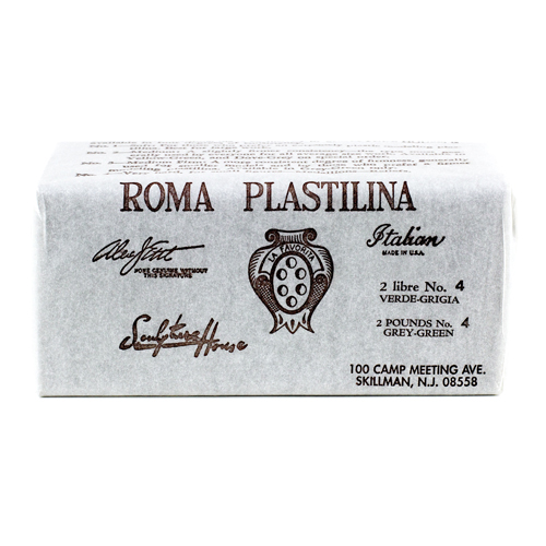 Roma 4 - Sculpture House Roma Plastalina Modeling Clay - 40 lb case - Grey Green - Firm-0
