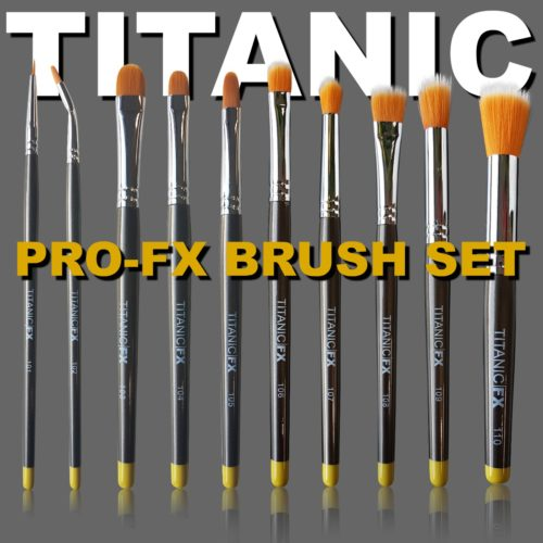 Titanic Pro-FX Full Brush Set – Includes all 10 brushes, Zip-Up Pouch, Mixing Palette