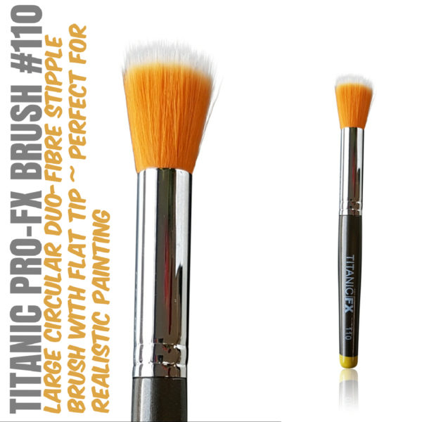 Titanic Pro-FX Brush 110 – Large Round Duo Fiber Stipple Brush – With Flat Tip